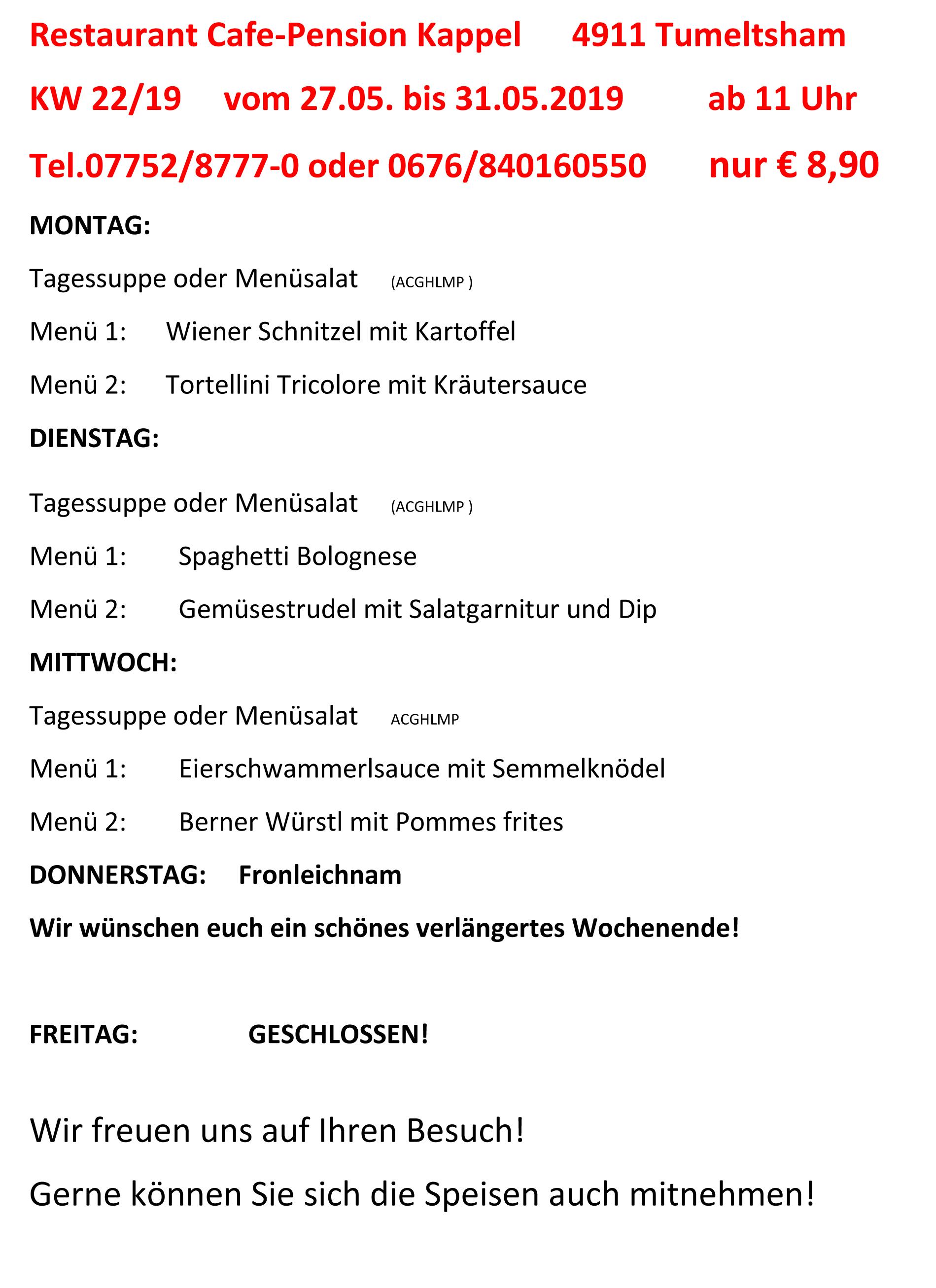 Menüplan KW 22-19